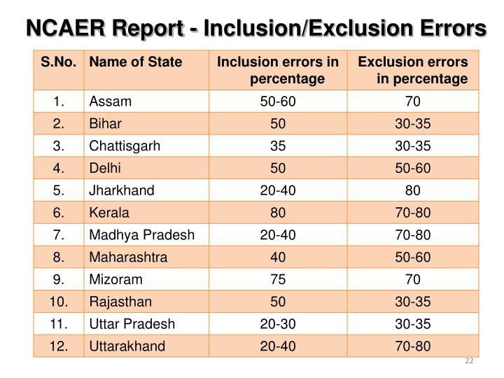 NCAER Report - Inclusion/Exclusion Errors
