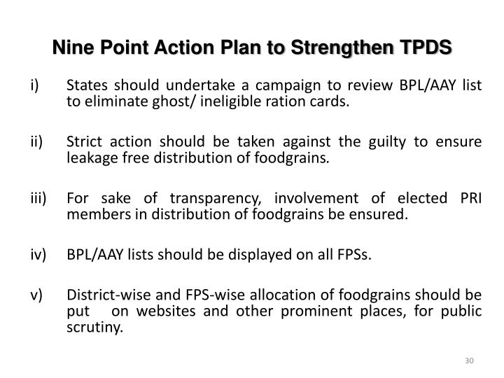 Nine Point Action Plan to Strengthen TPDS