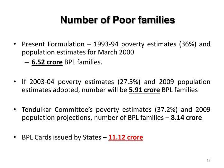 Number of Poor families