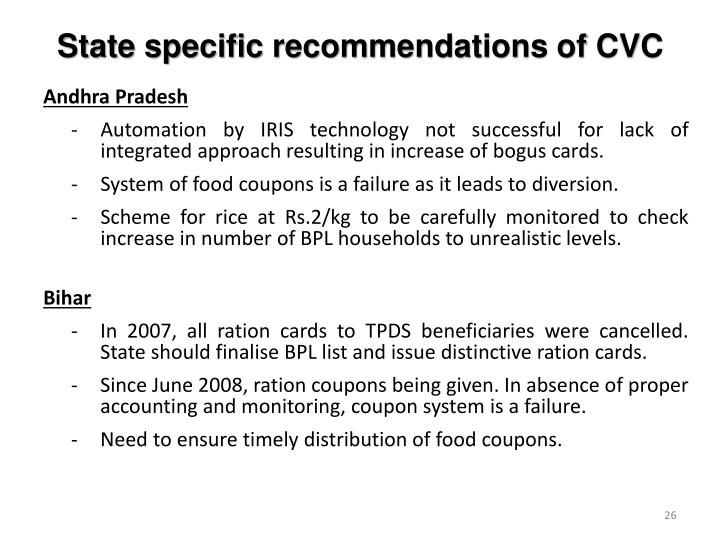 State specific recommendations of CVC