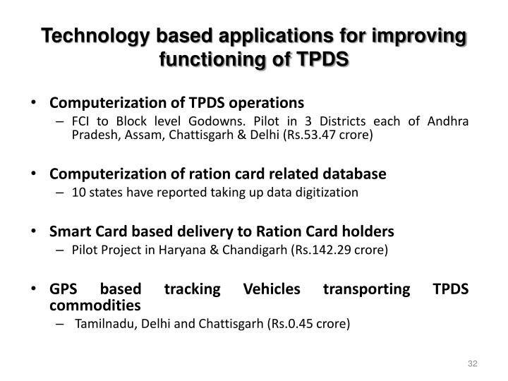 Technology based applications for improving functioning of TPDS