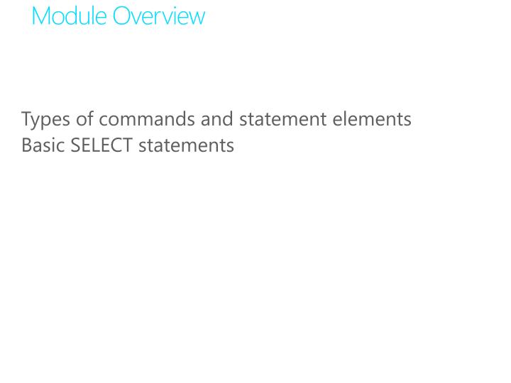 Types of commands and statement elements