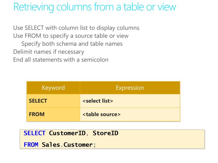 Retrieving columns from a table or view