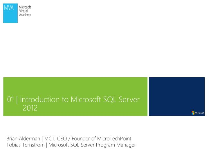 01 | Introduction to Microsoft SQL Server 2012