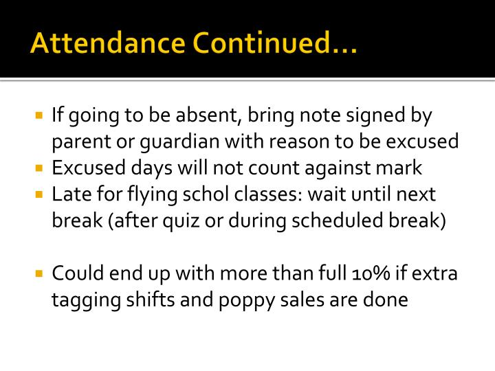 Attendance Continued…