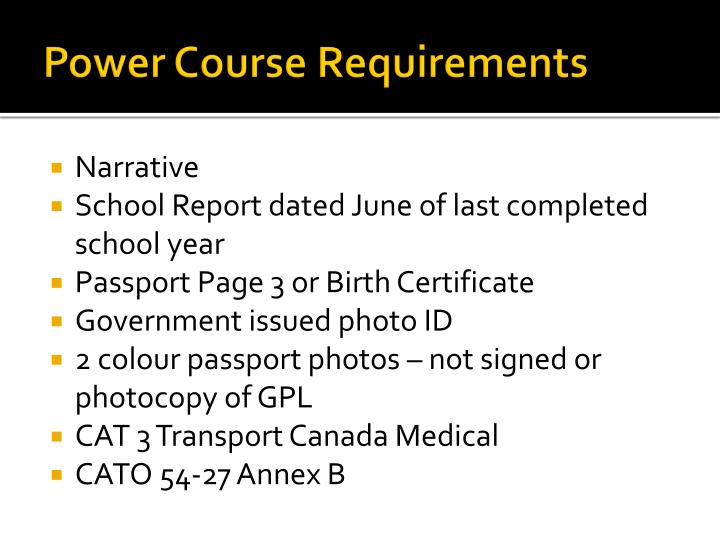 Power Course Requirements