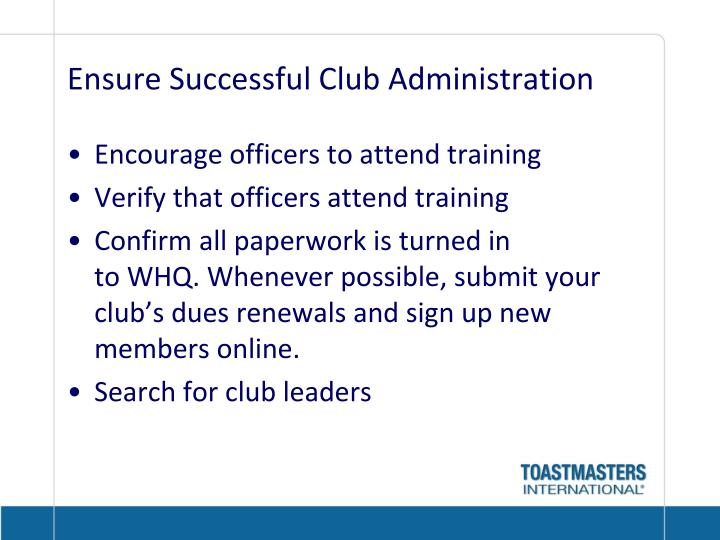 Ensure Successful Club Administration