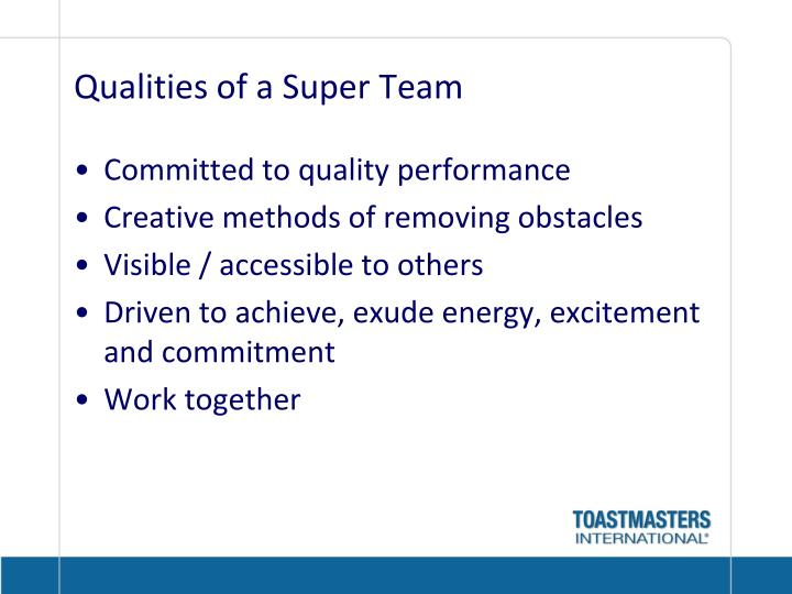 Qualities of a Super Team