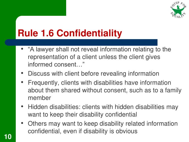 Rule 1.6 Confidentiality