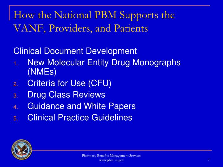 How the National PBM Supports the VANF, Providers, and Patients