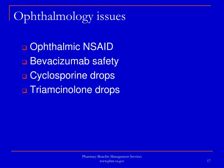Ophthalmology issues