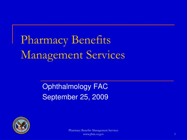 pharmacy benefits management services