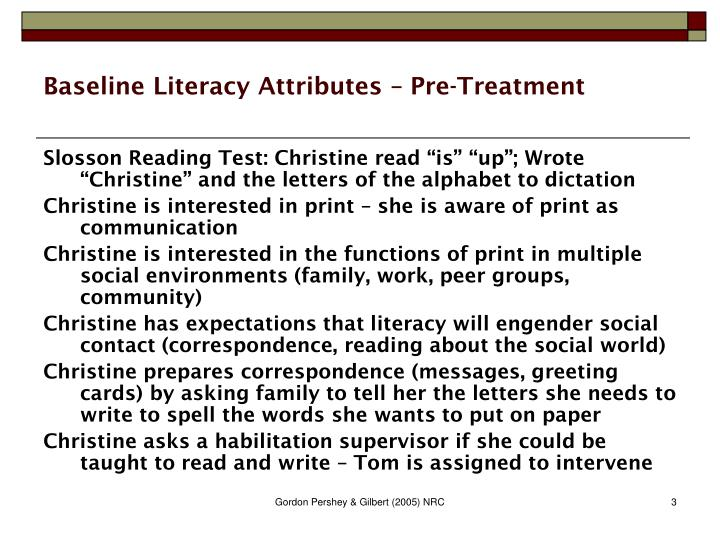 Baseline Literacy Attributes – Pre-Treatment