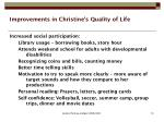 improvements in christine s quality of life
