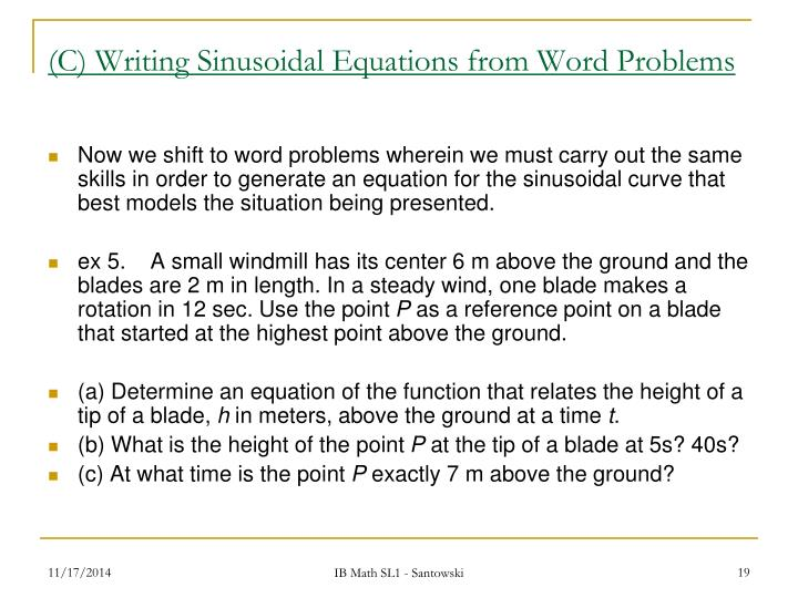 (C) Writing Sinusoidal Equations from Word Problems