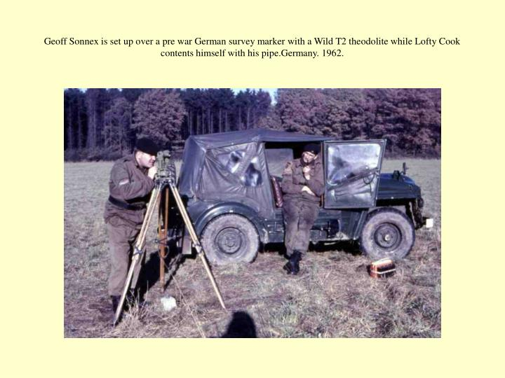 Geoff Sonnex is set up over a pre war German survey marker with a Wild T2 theodolite while Lofty Cook