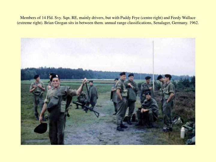 Members of 14 Fld. Svy. Sqn. RE, mainly drivers, but with Paddy Frye (centre right) and Feedy Wallace (extreme right). Brian Grogan sits in between them. annual range classifications, Senalager, Germany. 1962.