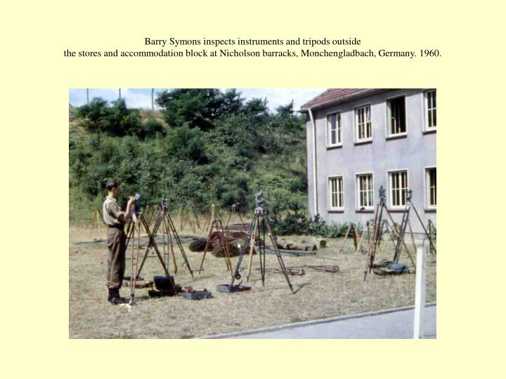 Barry Symons inspects instruments and tripods outside