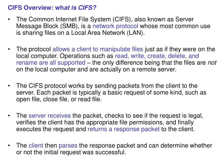 Cifs overview wh at is cifs