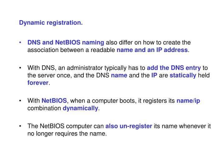 Dynamic registration.
