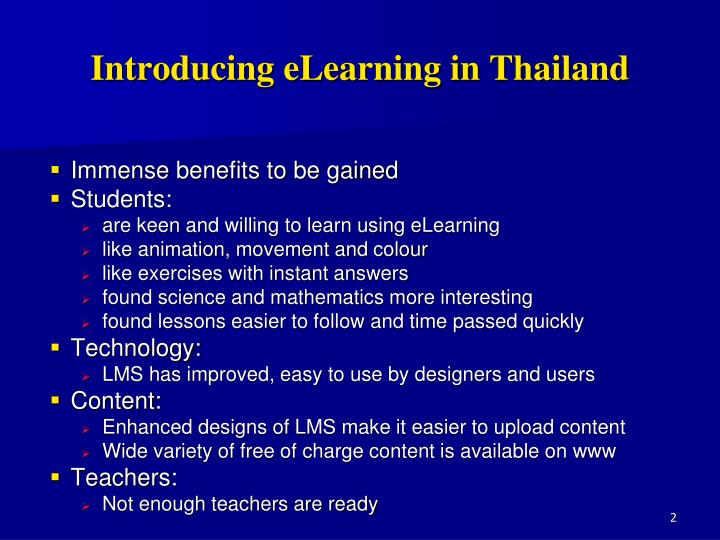 Introducing eLearning in Thailand