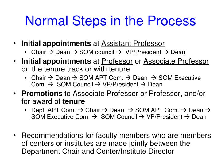 Normal Steps in the Process