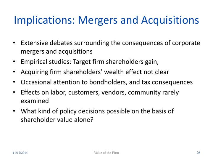Implications: Mergers and Acquisitions