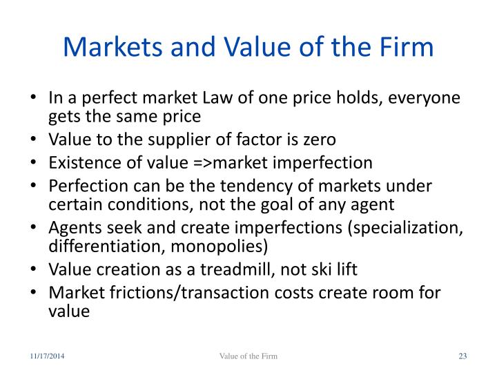 Markets and Value of the Firm