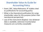 shareholder value as guide for accounting policy