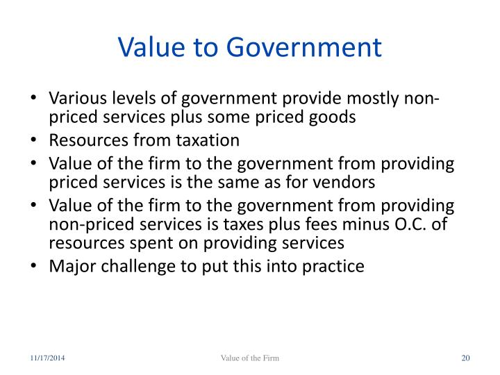Value to Government