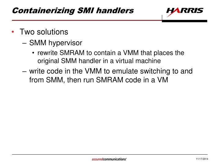 Containerizing SMI handlers