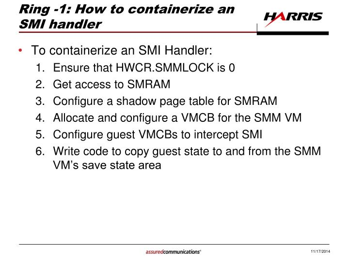 Ring -1: How to containerize an SMI handler