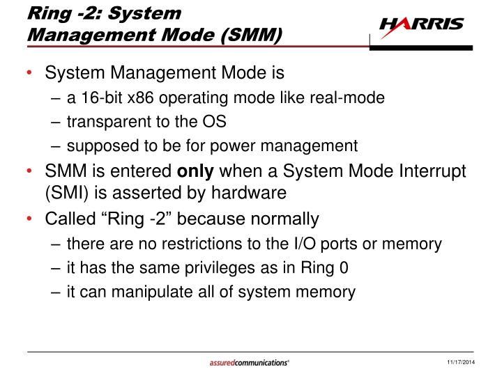 Ring -2: System Management Mode (SMM)