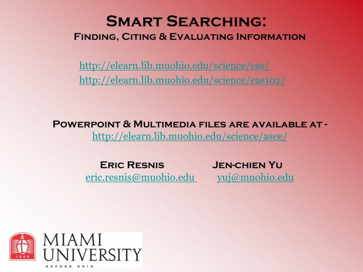Smart Searching: