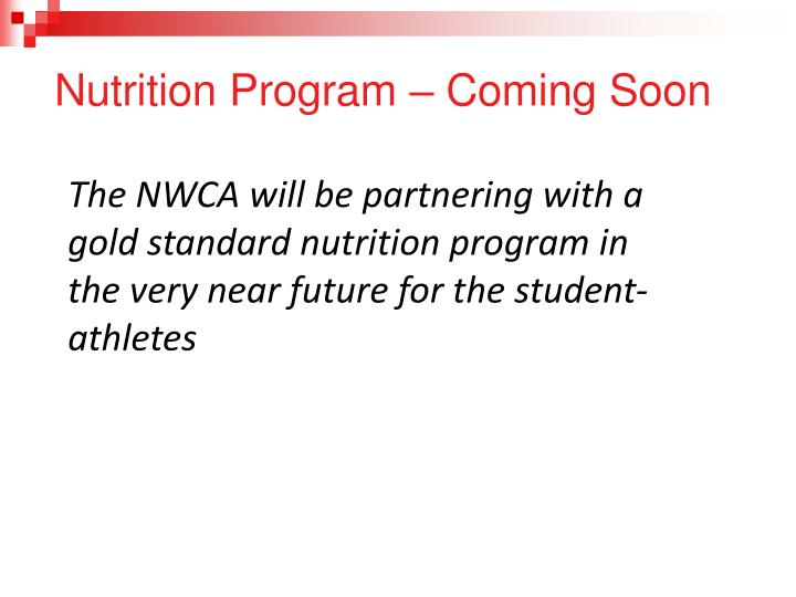 Nutrition Program – Coming Soon