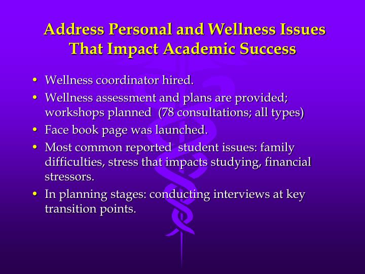 Address Personal and Wellness Issues That Impact Academic Success