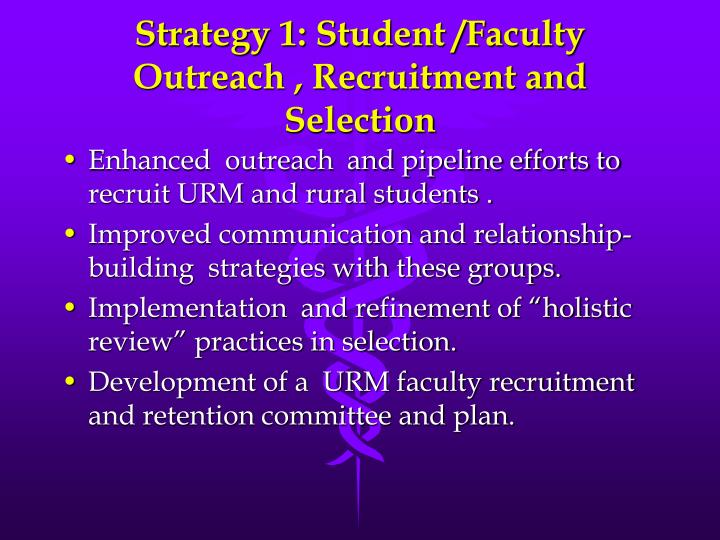 Strategy 1: Student /Faculty Outreach , Recruitment and Selection