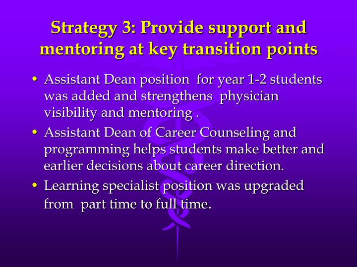 Strategy 3: Provide support and mentoring at key transition points
