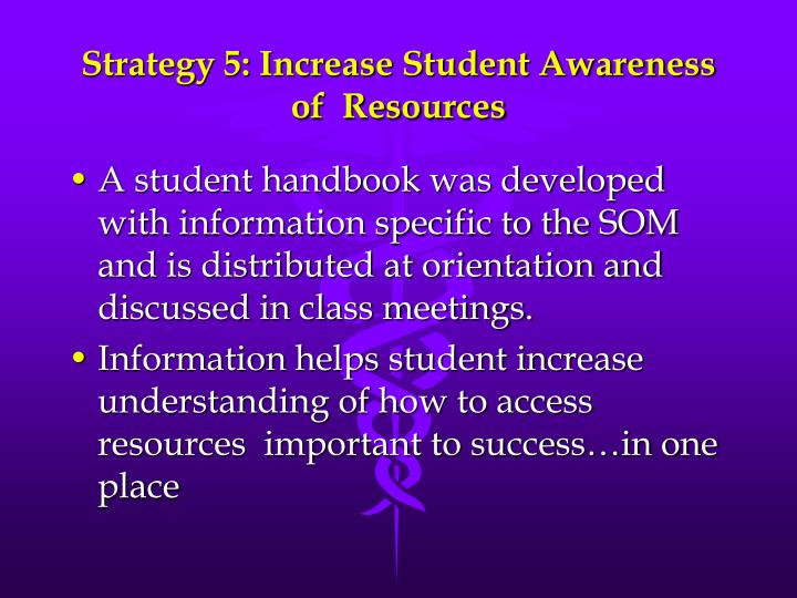 Strategy 5: Increase Student Awareness of  Resources