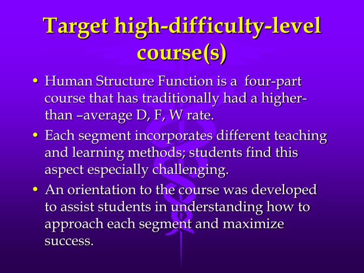 Target high-difficulty-level course(s)