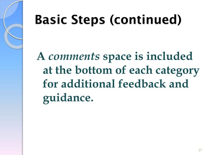 Basic Steps (continued)