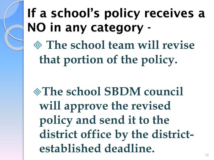 If a school's policy receives a NO in any category -