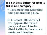 if a school s policy receives a no in any category