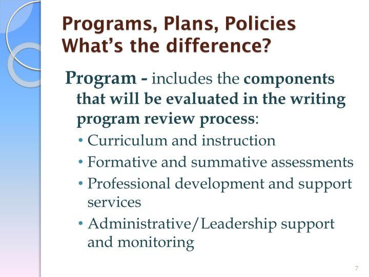 Programs, Plans, Policies