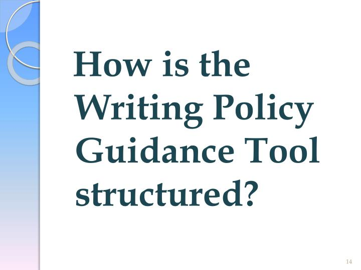 How is the Writing Policy Guidance Tool structured?