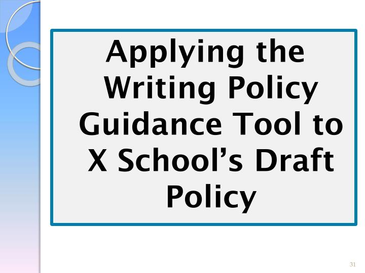 Applying the Writing Policy Guidance Tool to X School's Draft Policy