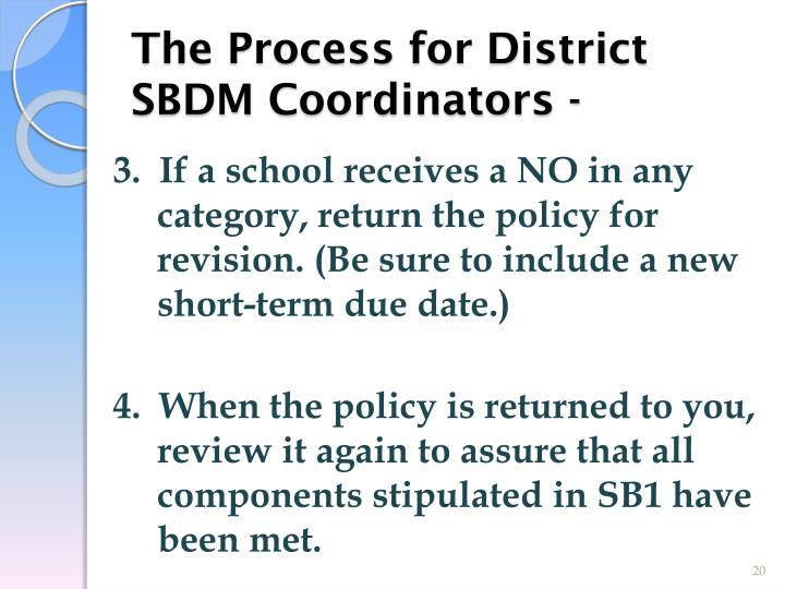 The Process for District SBDM Coordinators -