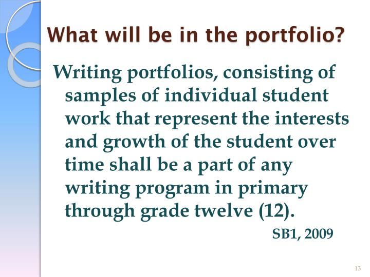 What will be in the portfolio?