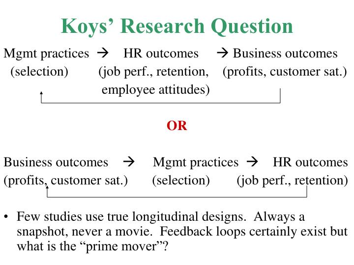 Koys' Research Question