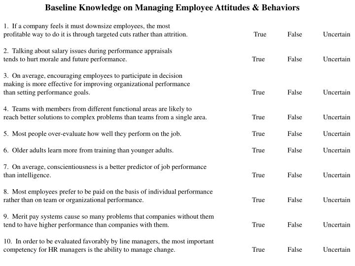Baseline Knowledge on Managing Employee Attitudes & Behaviors